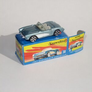 Matchbox  Superfast #38  1957 Chevrolet Corvette Open Top Silver Blue