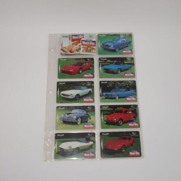 1995 New Zealand Telecom Phone Cards Sanitarium Weet-Bix Classic Cars Set of 10
