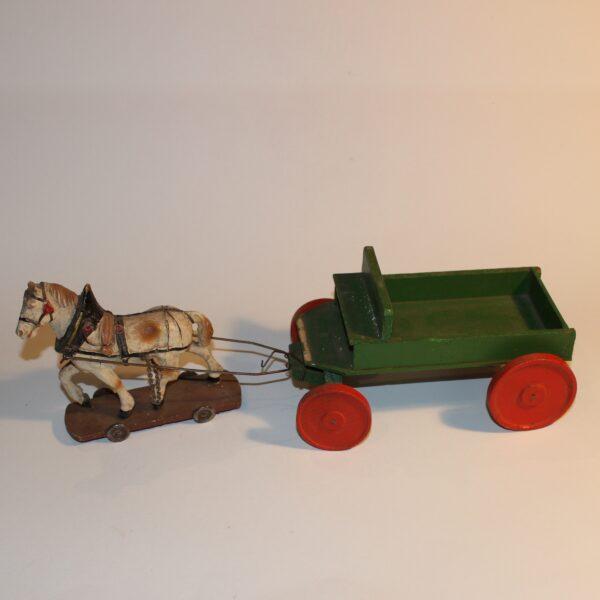 Antique PreWar Austria Composition Putz Paper Mache Draught Horse & Cart Pull Toy