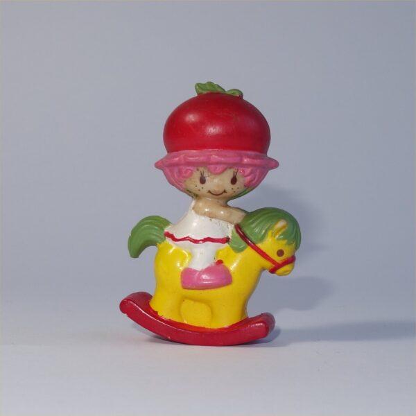 Strawberry Shortcake 1982 Cherry Cuddler on a Rocking Horse PVC Figurine