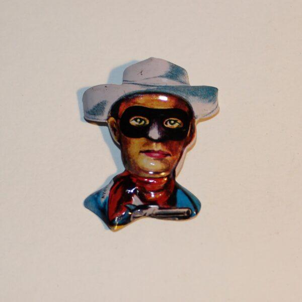 Vintage Japan Lapel Pin Badge Party Favour Show Bag Lone Ranger Cowboy Image