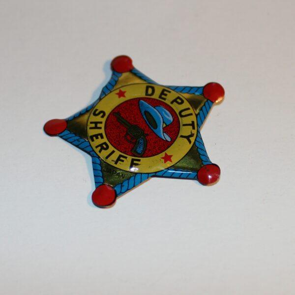 Vintage Japan Lapel Pin Badge Party Favour Show Bag Cowboy Deputy Sheriff Star Image