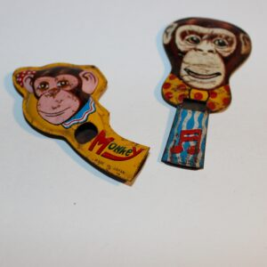 Vintage Japan Whistle Party Favour Show Bag Lot of 2 Monkey Images