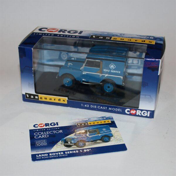 "Vanguards by Corgi Toys 1:43 Land Rover Series 1 80"" RAC Road Service Vehicle VA11116"