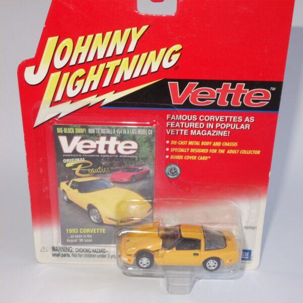 Johnny Lightning 1993 Chevrolet Corvette Yellow Hard Top
